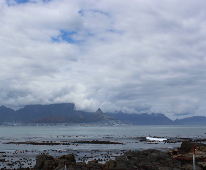 Table Mountain shrouded in --as seen from Robben Island