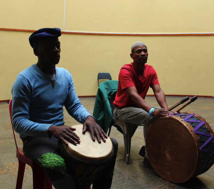 Drummers in Langa Township teaching the art