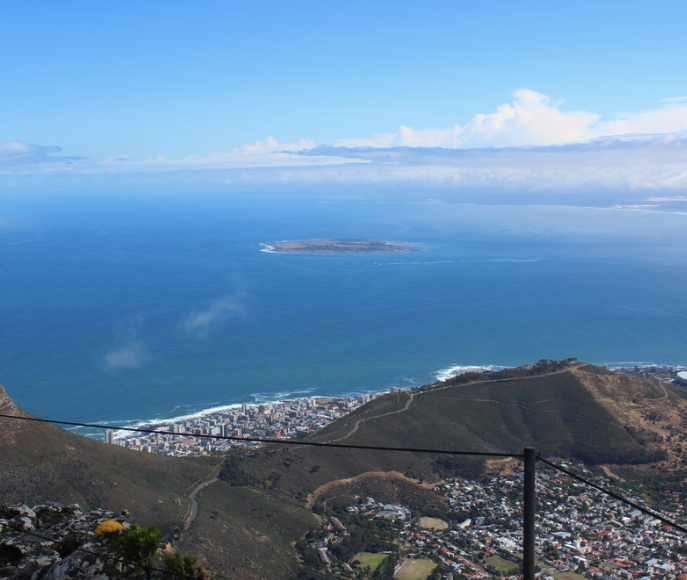 View of Robben Island and Cape Town from the top of Table Mountain