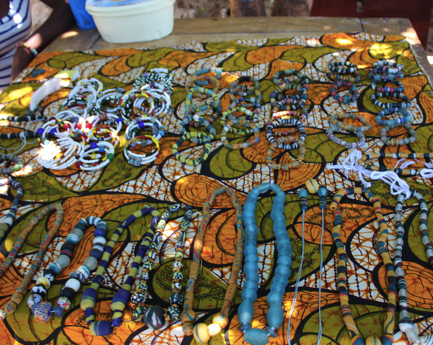 Bracelets and necklaces made with recycled beads