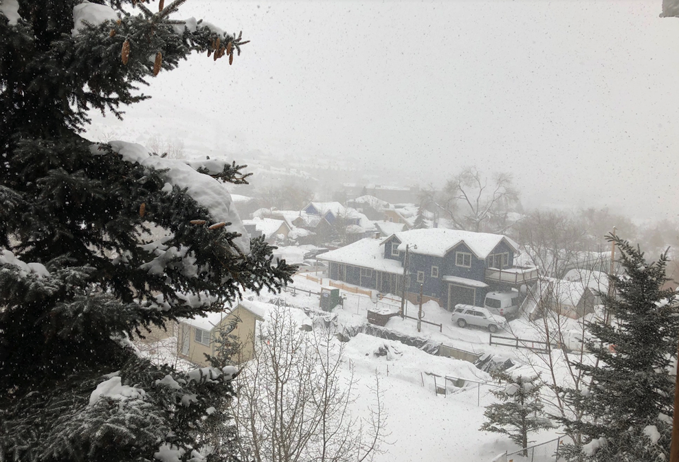 Heavy snow seen falling from our condo balcony in Park City