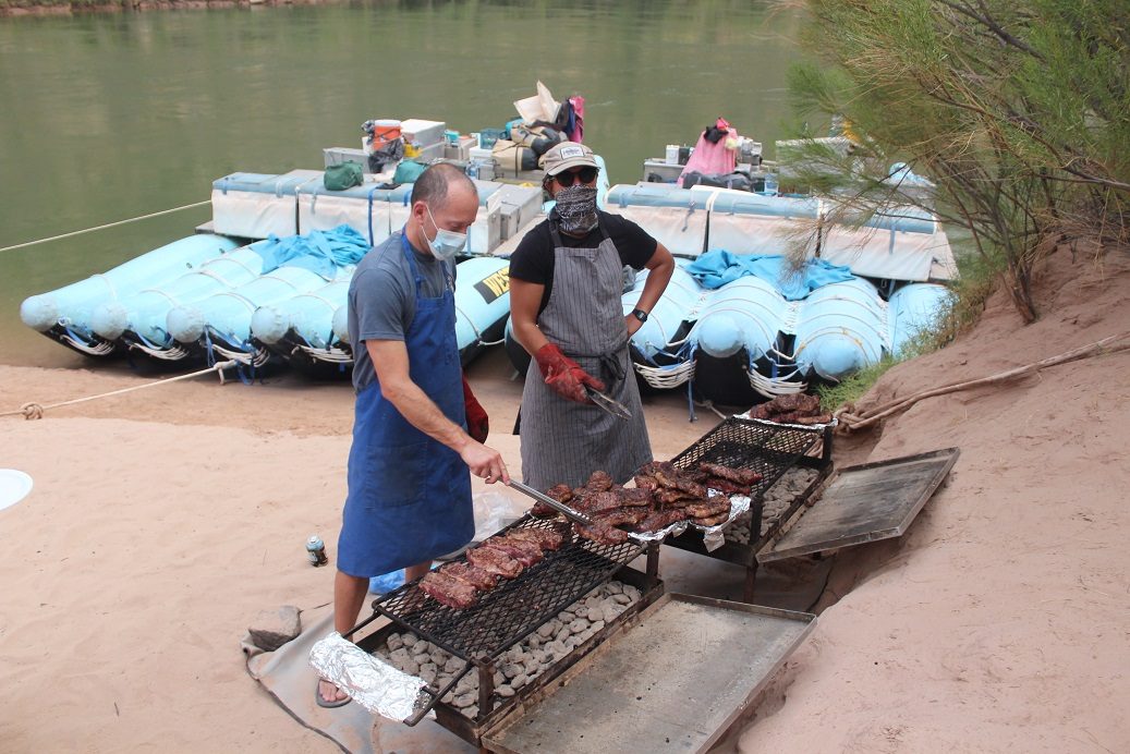 Steaks on the grill on our final night in the Grand Canyon
