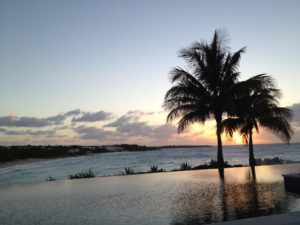Sunset from the infinity pool at the Viceroy Anguilla