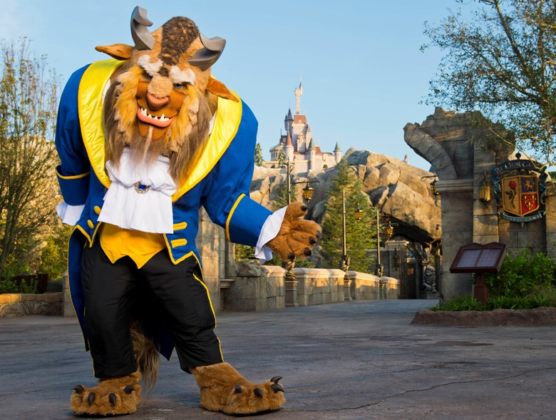The Beast welcomes guests to his castle in the Magic Kingdom