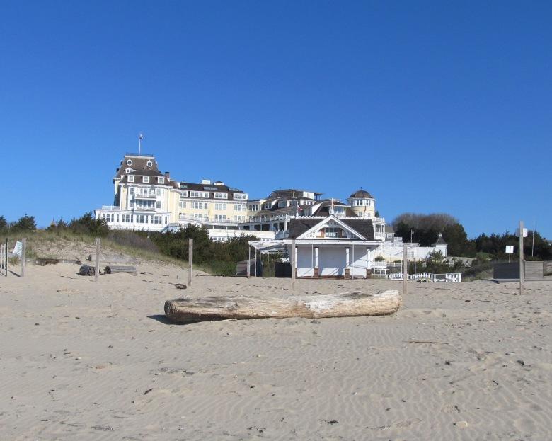 The Ocean House at Watch Hill RI from beach
