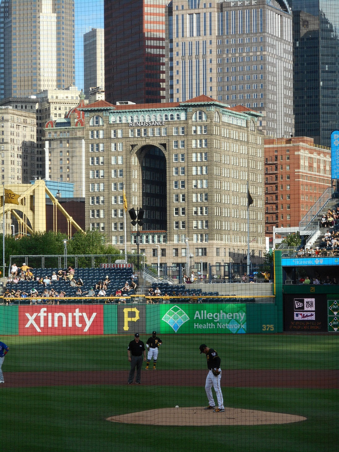 The Renaissance Pittsburgh Hotel seen from PNC Park during the Cubs-Pirates game