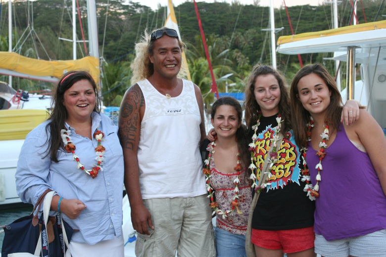 My daughter Mel (third from left) her BFFs from Camp Lane Washburn, Orlee Roza and Margaret Bylsma with our sailboat captain Turo Ariito in Tahiti.