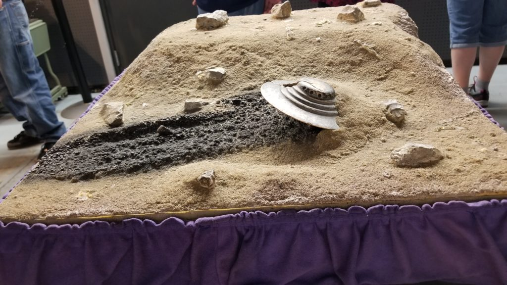 The model of the 1947 crash site built from witness accounts is a highlight of the International UFO Museum.