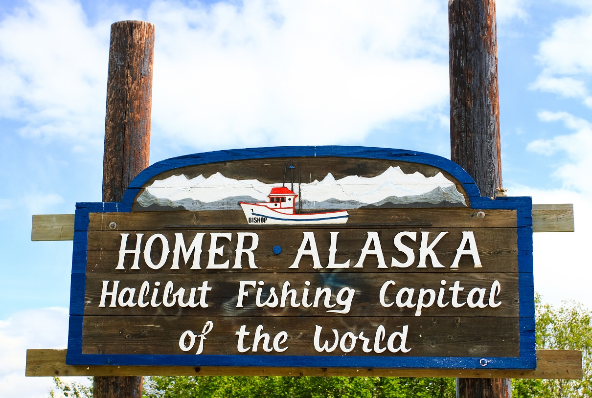 This sign greets visitors on the Kenai Peninsula as they enter world-famous Homer Alaska
