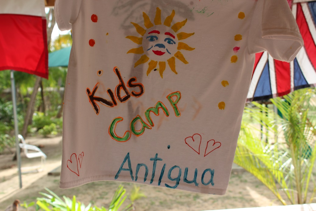 Tye-dyed t-shirts made by kids at Curtain Bluff Resort
