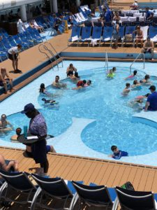 Vacation begins in the Mickey-shaped pool on Disney Fantasy