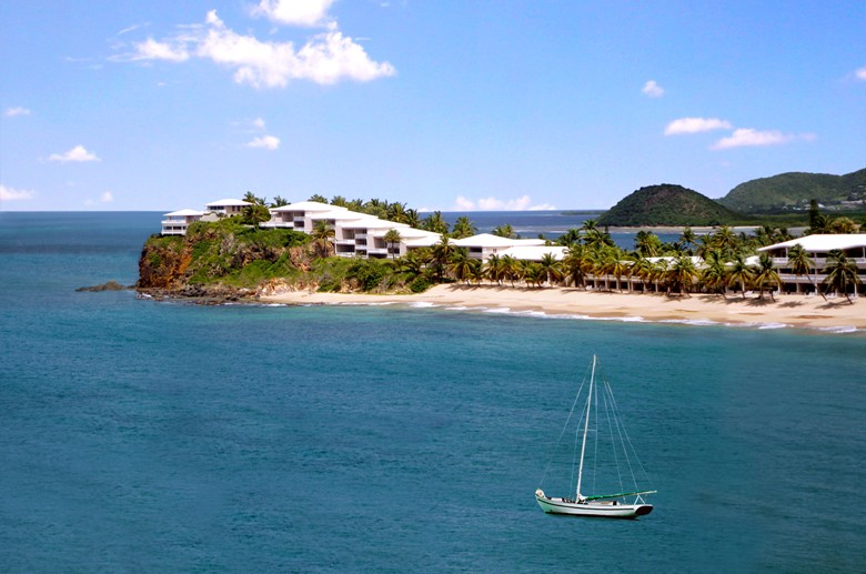 View of Curtain Bluff and its surf beach