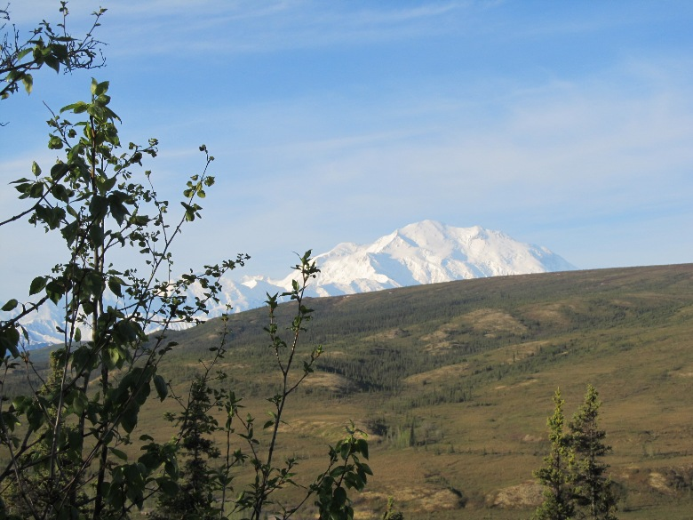 View of Mt. McKinley from the Camp Denali on a clear morning in June 2012
