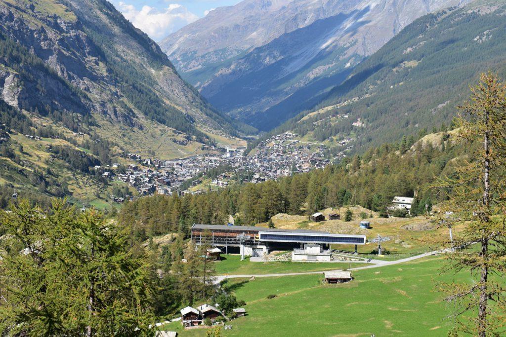 View of Zermatt from above he Furi gondola near the former terminus of the Gronegrat Glacier