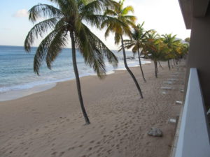 View of the surf beach from out room at Curtain Bluff on Antigua