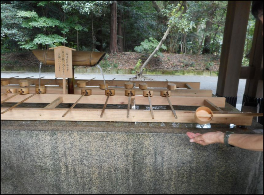 Water for purification at Mejii Shrine in Tokyo