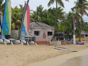 Watersports center on the calm beach at Curtain Bluff Antigua