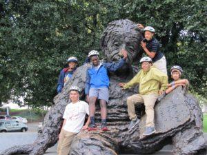 Westport ABC boys at the sculpture of Albert Einstein on the National Mall
