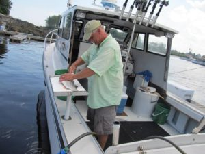 Wicked Tuna Star Bruce Hebert filets up striped bass at the end of our outing in Kennebunkport ME