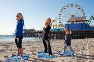 Yoga on the beach in Santa Monica CA