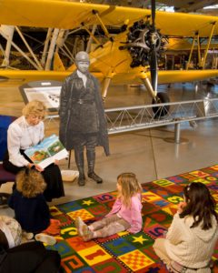 Young visitors enjoy story time at the National Air and Space Museum's Steven F. Udvar-Hazy Center