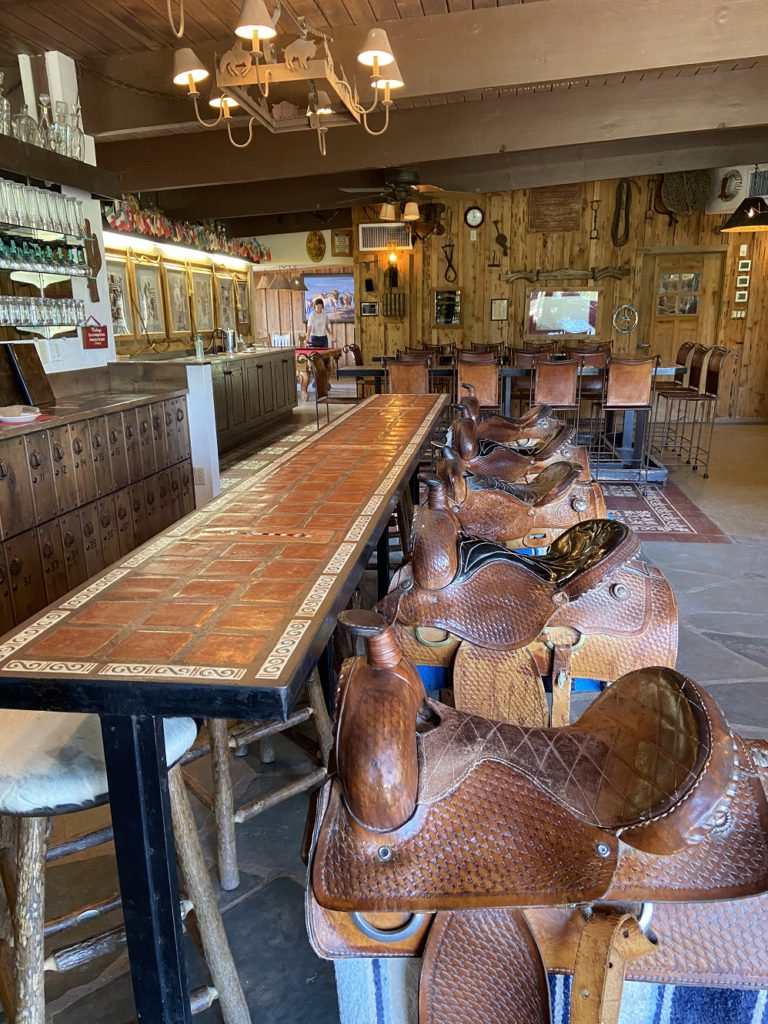 bar in the main lobby of White Stallion Ranch.