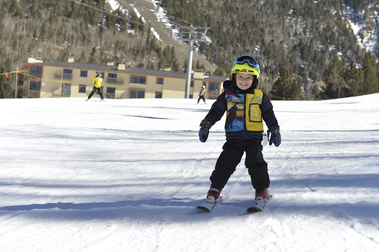Children ski lessons at Taos Ski Valley, New Mexico February 2018.