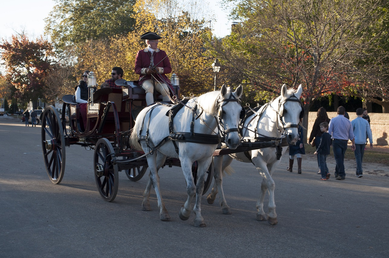 Horse carriage ride at Colonial Williamsburg.