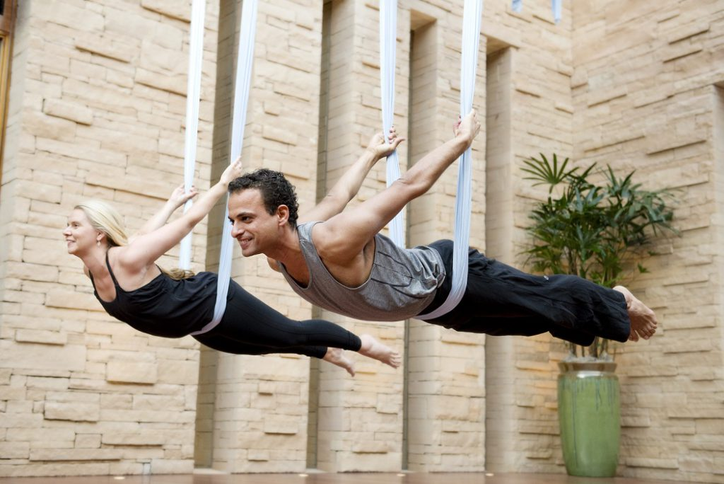 Aerial yoga at the Well Being Spa.