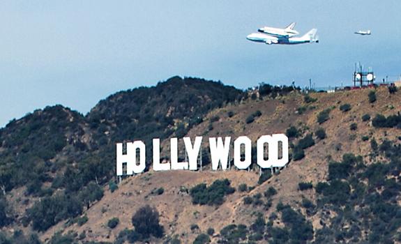 The Space Shuttle Endeavour on its last flight over LA