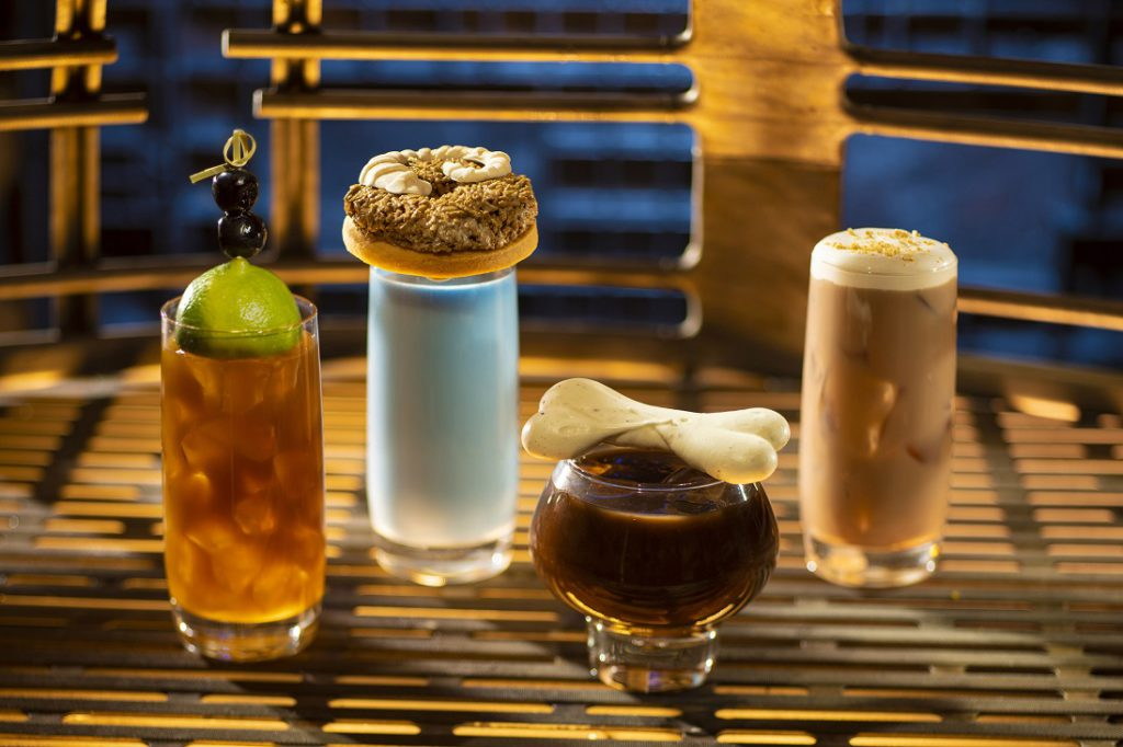 From left to right: Moogan Tea, Blue Bantha, Bloody Rancor (contains alcohol) and the Black Spire Brew  at Oga's Cantina