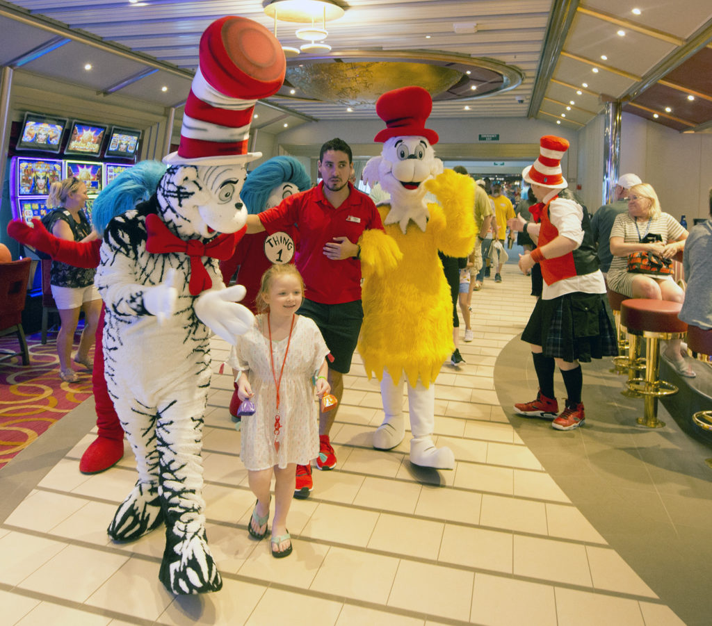 Dr. Seuss' Cat In the Hat and friends stroll on the Carnival Sunrise as part of a Seuss-a-palooza Parade