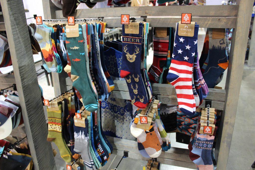 Colorful skiing and hiking socks everywhere