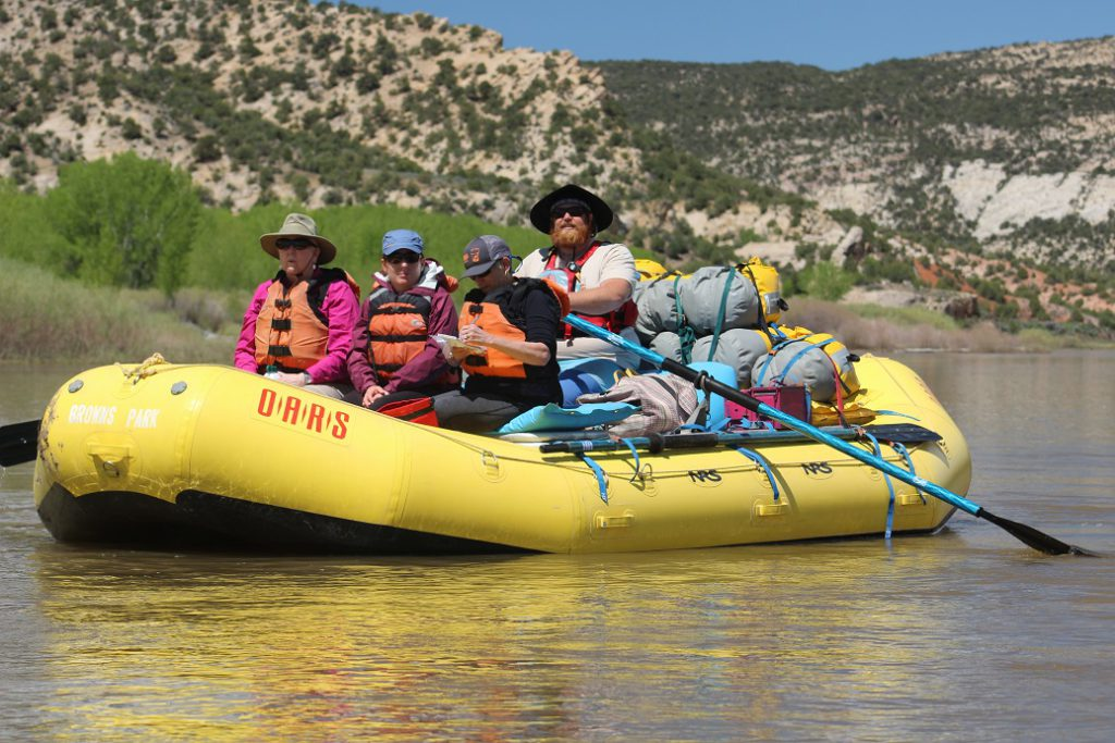 Eileen Ogintz takes notes as our group leader Kyle Waller leads the expedition down the Yampa River