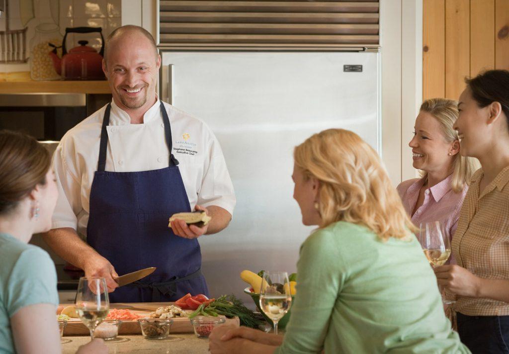 Executive Chef Stephane Beaucamp prepares meal at Lake Austin Spa