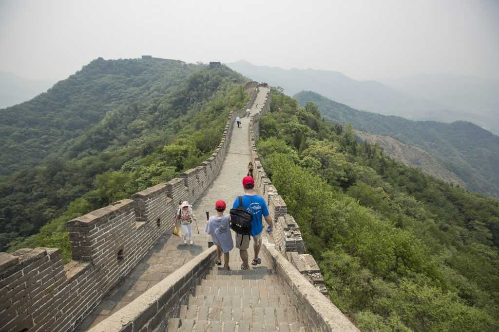 Family touring the Great Wall of China