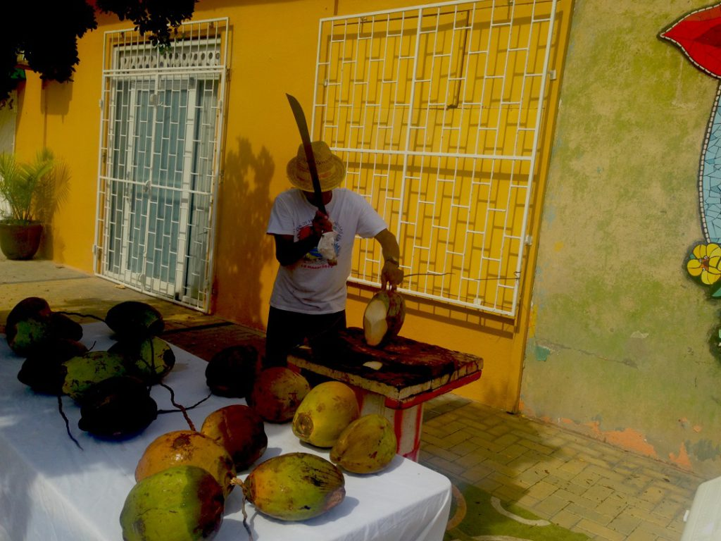 Enjoy fresh coconut juice while exploring Aruba's mural art