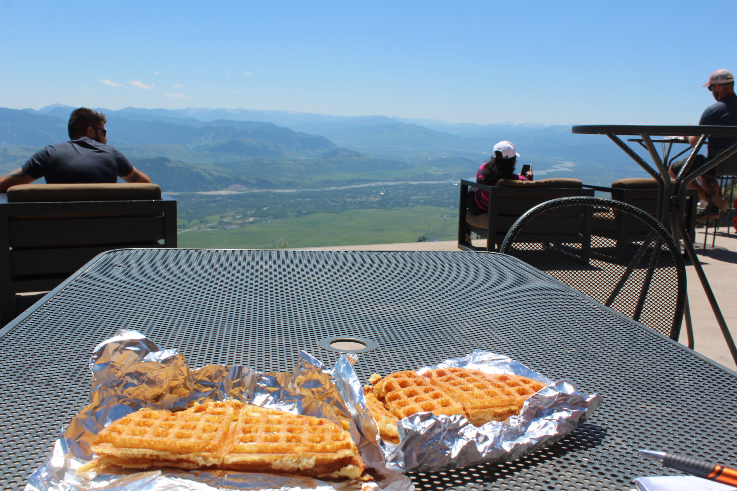 Waffles with a view from atop Jackson Hole Mountain Resort