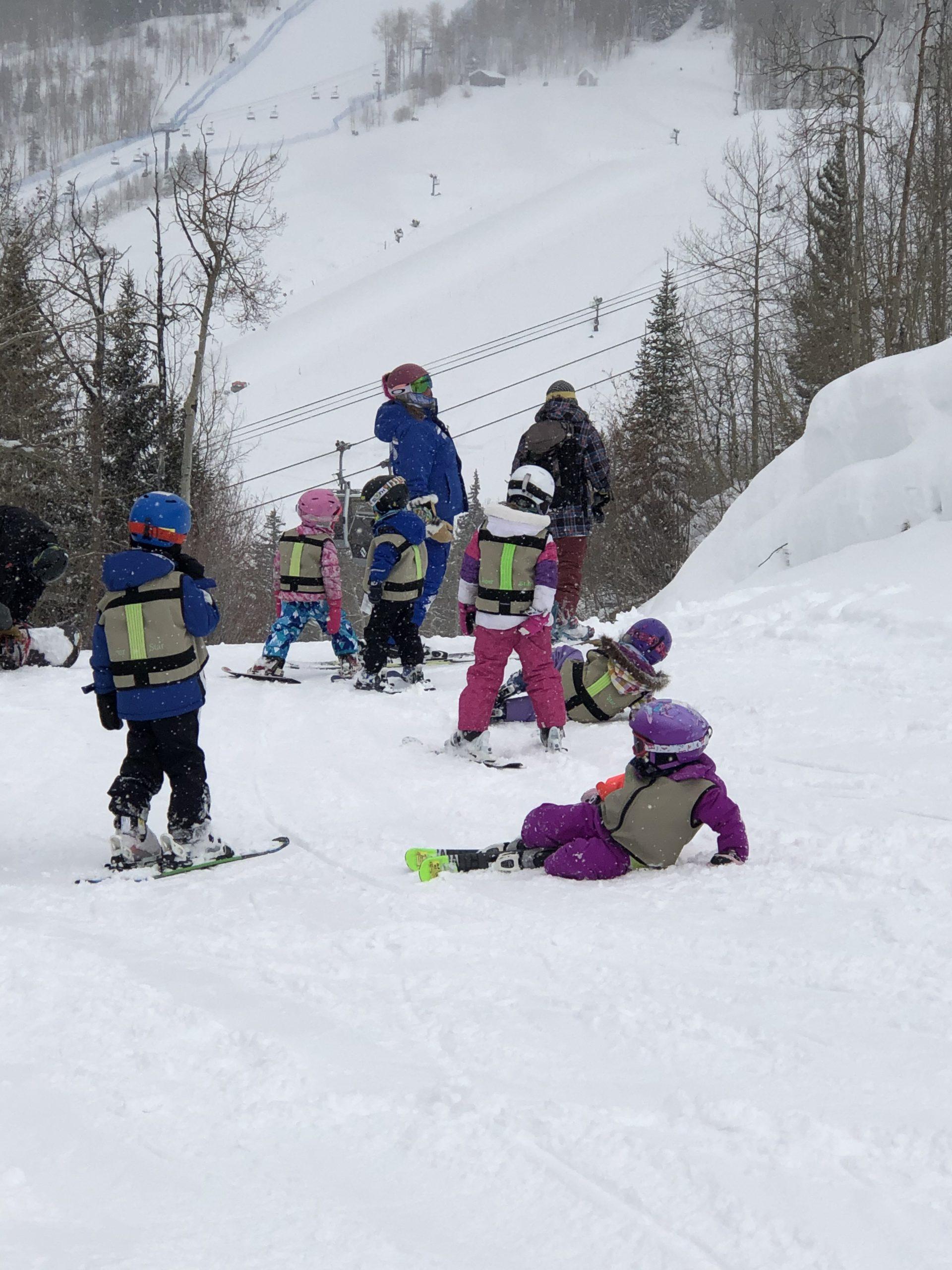 A ski school class working hard near Vail Village