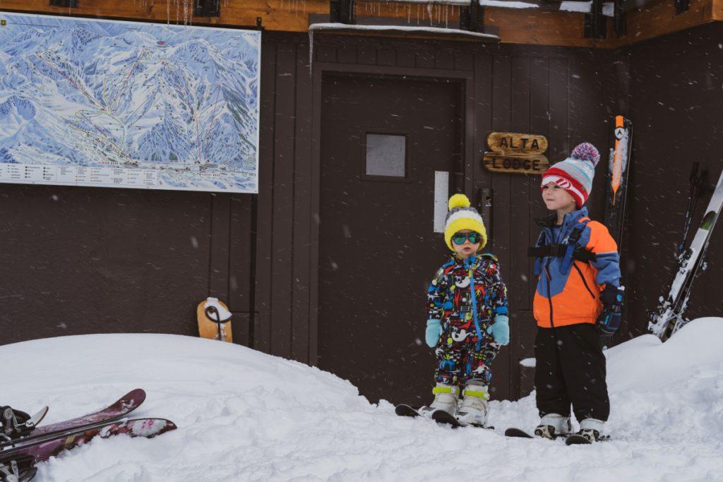 Kids ready to ski at family friendly Alta Lodge in Utah
