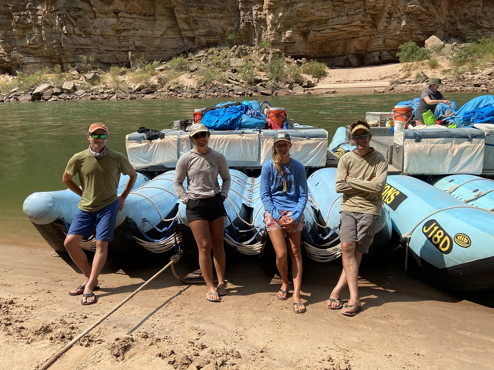 Our Western River Expeditions guides - Andy Dicus, Alexis Smith, Stephanie Devisser, Ben Bressler