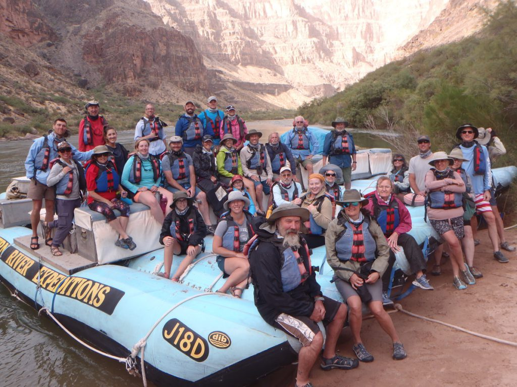 Our group of 32 intrepid river rafters on the last morning of our 7-day expedition