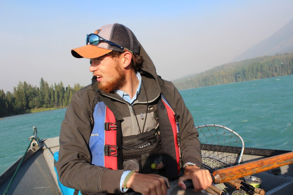 Our guide Hunter Johnson at the oars on the upper Kenai River