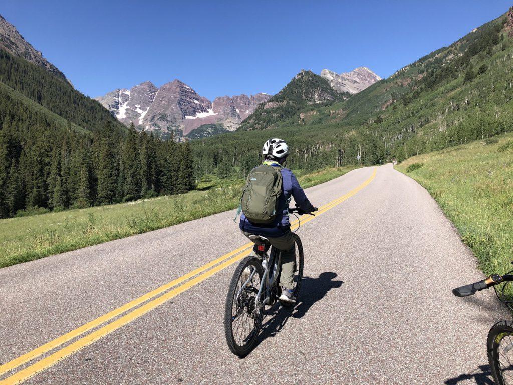 Eileen on the road to Maroon Bells near Aspen CO