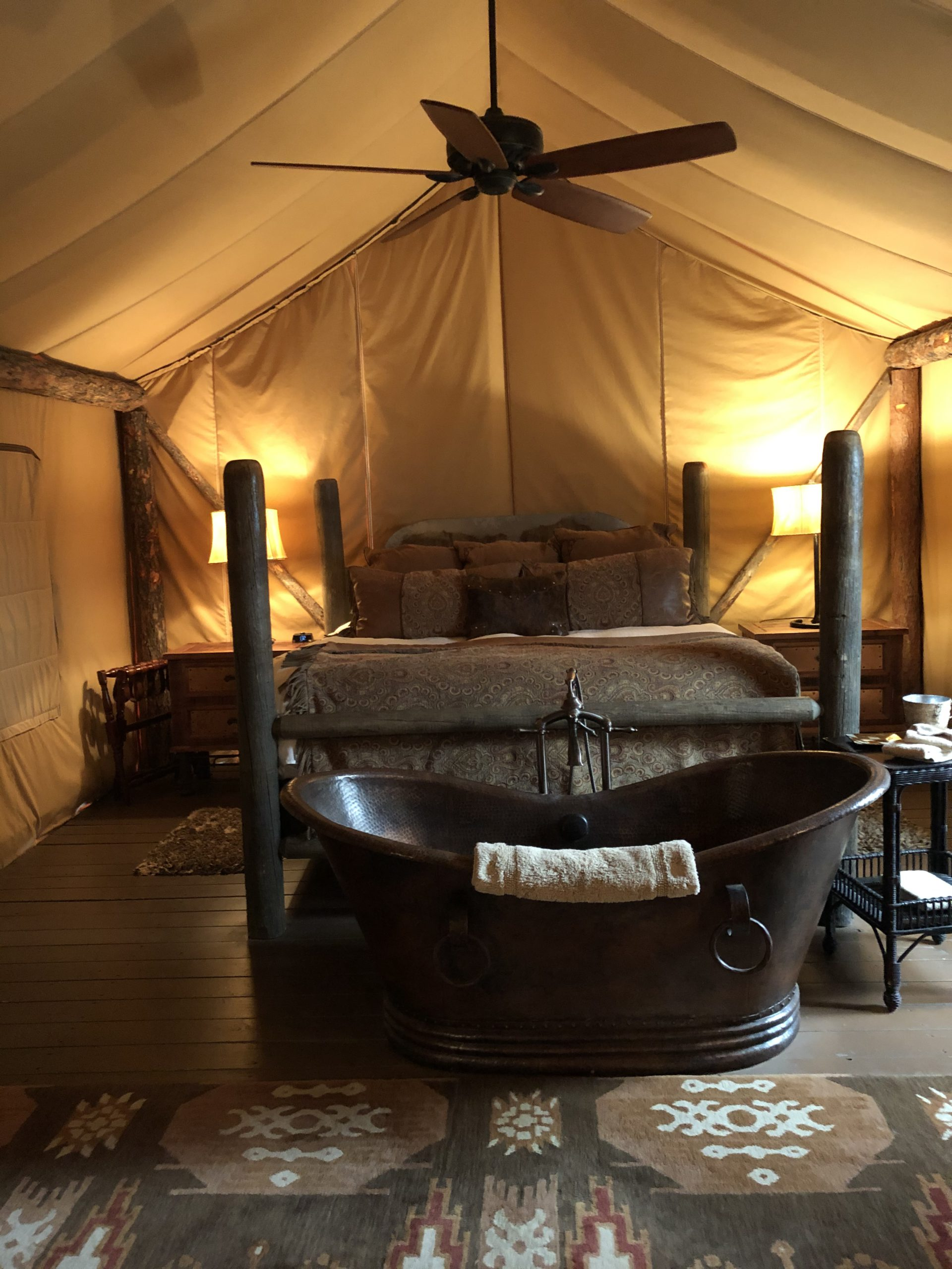 Inside our glamping tent at The Resort at Paws Up