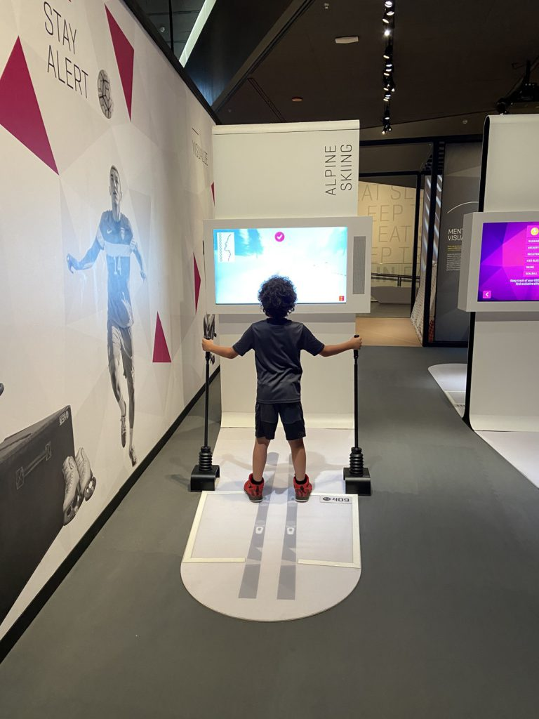 Testing out Olympic ski potential at the museum in Colorado Springs