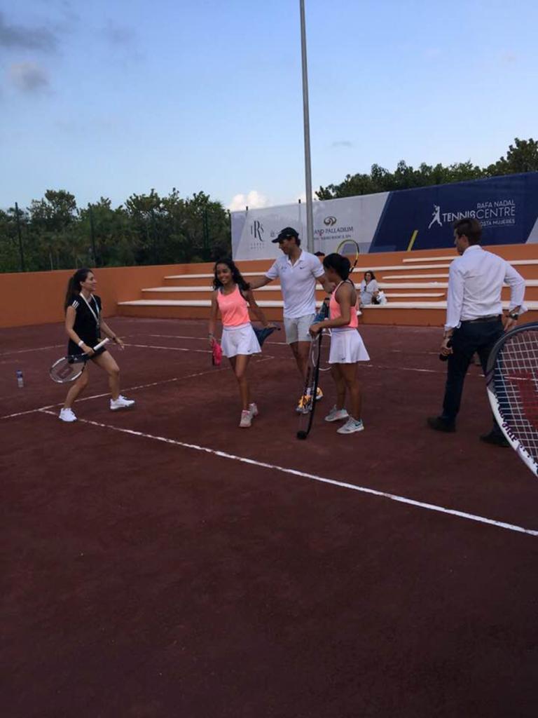 Rafael Nadal and young tennis players at the Rafael Nadal Tennis Centre