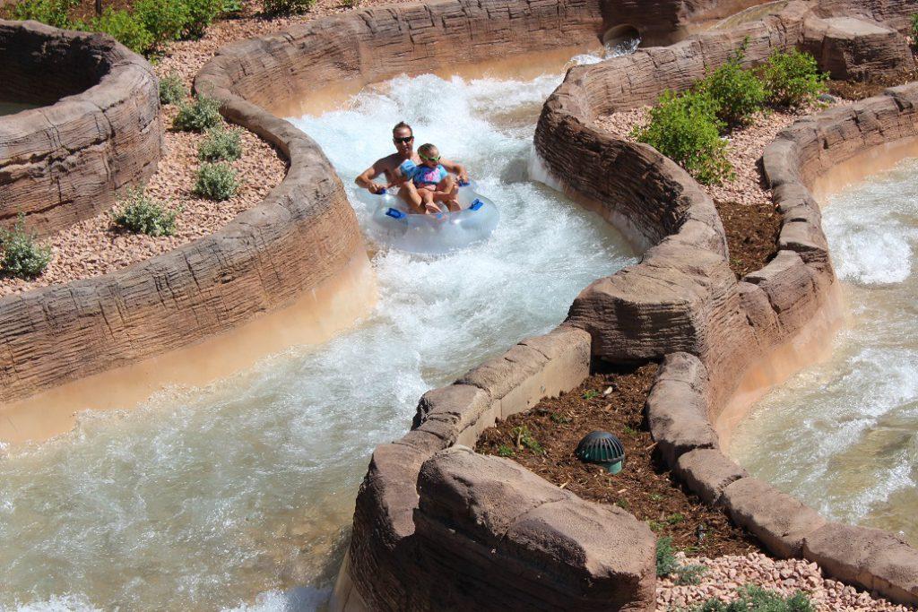 Riding the chutes at Glenwood Hot Springs Resort