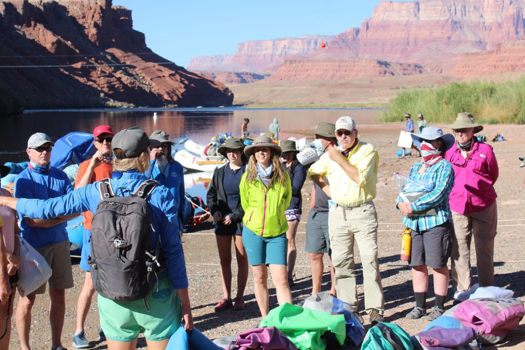 Safety briefing by Western River Expeditions guide at Lees Ferry