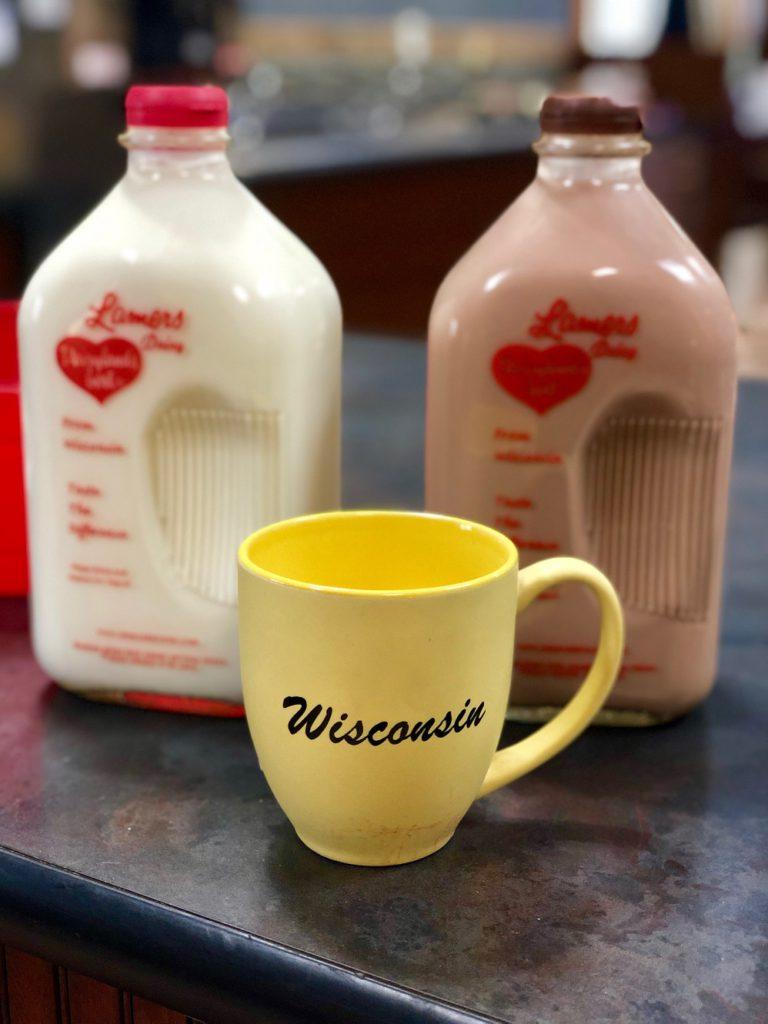 Sampling a glass of milk at Lamers